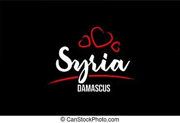 cuore, paese, nero rosso, fondo, damasco, relativo, siria,...