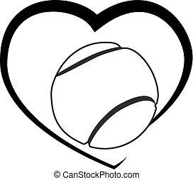 cuore, palla tennis, logotipo