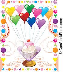 cuore, palloni, icecream