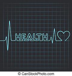 cuore, parola, &, fare, salute, battito cardiaco