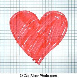cuore, penna, feltro, disegno, valentina
