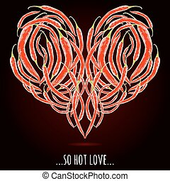 cuore, pepe, amore, forma, peperoncino, rosso
