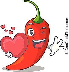 cuore, pepe, caldo, tavola, peperoncino, cartone animato