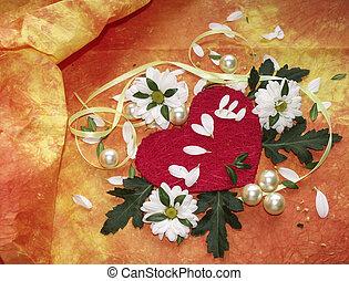 cuore, perline, fiori, nastri, margherite