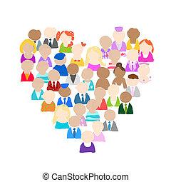 cuore, persone, icone, forma, disegno, tuo