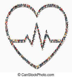 cuore, persone, segno, cardiaco, medicina, icona