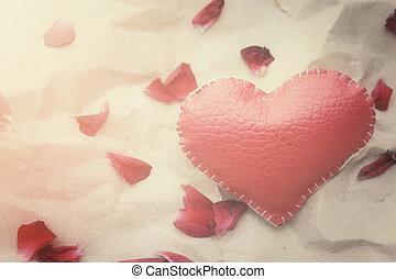 cuore, petali, rosa