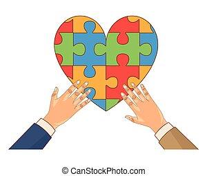 cuore, pezzi, umano, puzzle, gioco, mani