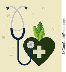 cuore, pianta, croce, canapa, stetoscopio, medicina