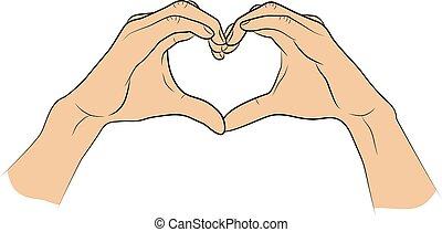cuore, piegato, isolato, forma, fondo, mani, bianco