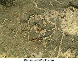 cuore, pietra, inciso