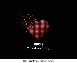 cuore, pixel, vettore, fondo, valentina, giorno