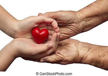 cuore, poco, donna, amore, palme, simbolo, custodia, anziano, isolato, loro, fondo, insieme, ragazza, bianco rosso, cura
