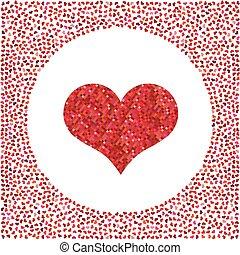 cuore, poco, fatto, intorno, cuori, pixel, rosso