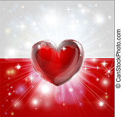 cuore, polonia, amore, bandiera, fondo