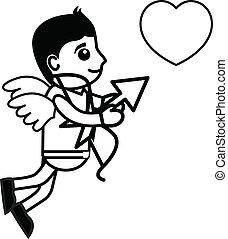 cuore, presa, cartone animato, cupido