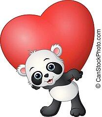 cuore, presa, cartone animato, panda rosso