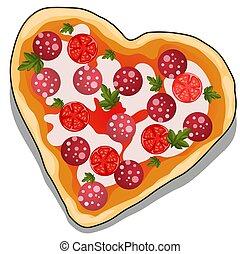 cuore, primo piano, illustration., isolato, fondo., forma, vettore, delizioso, bianco, cartone animato, pizza