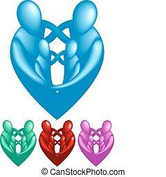 cuore, protettivo, famiglia, formare, forma., amare