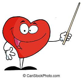 cuore, puntatore, usando, bastone, rosso