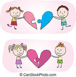 cuore, puzzle, bambini
