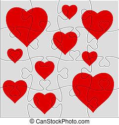 cuore, puzzle, immagine
