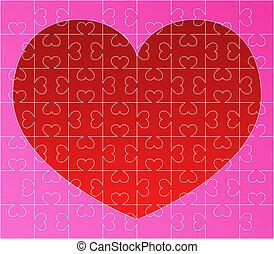cuore, puzzle, rosso