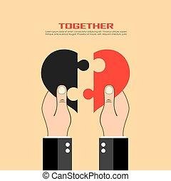 cuore, puzzle, tenere mani