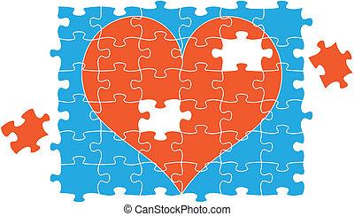 cuore, puzzle, vettore, jigsaw