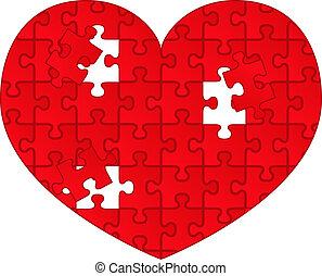 cuore, puzzle, vettore, rosso, pezzi