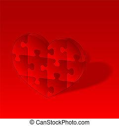 cuore, puzzle, vettore, rosso