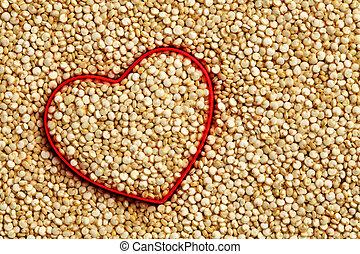 cuore, quinoa, forma, fondo, crudo, rosso