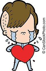 cuore, ragazza, amore, cartone animato, pianto
