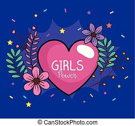 cuore, ragazza, fiori, scheda, potere