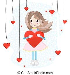 cuore, ragazza, grande, carino