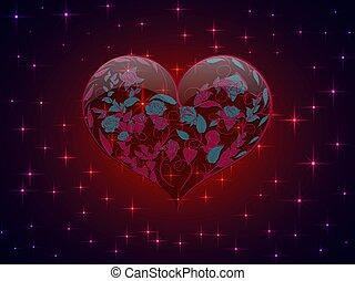 cuore, rami, fondo, forma, vetro, modello, rose, luminoso, stelle, intessuto