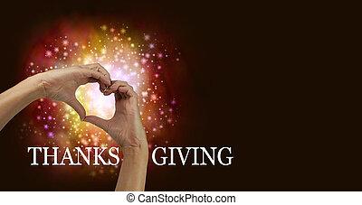 cuore, ringraziamento, mani