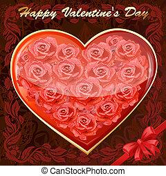cuore, rose, scheda, valentine