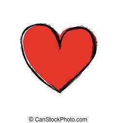 cuore rosso, bianco, fondo, vettore