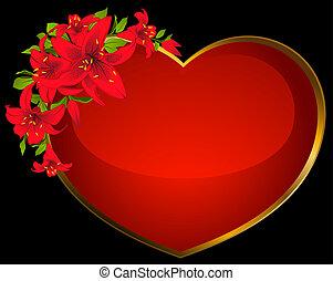 cuore rosso, con, bello, fiori