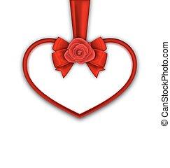 cuore rosso, con, rosso sorto, nastro, e, arco, per, felice, giorno valentines