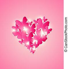 cuore, rosso, farfalle