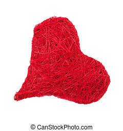cuore, rosso, isolato, bianco