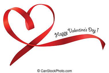 cuore rosso, nastro, arco, isolato, bianco, fondo., vettore