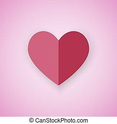 cuore rosso, su, sfondo rosa