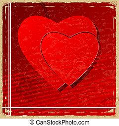 cuore rosso, su, vendemmia, fondo