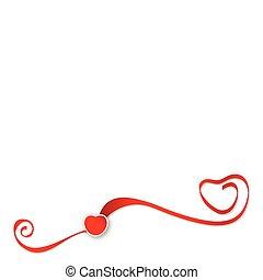 cuore rosso, vettore, nastri