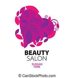 cuore, salone, bellezza, foglie, logotipo, rosso