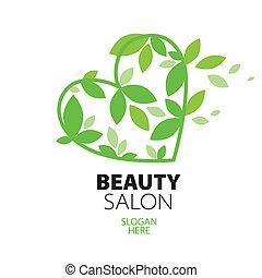 cuore, salone, bellezza, foglie, verde, logotipo