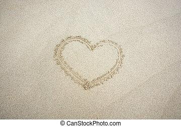 cuore, sand., cima, fondo., disegnato, spiaggia, vista